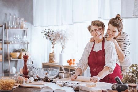 Two women baking in a kitchen
